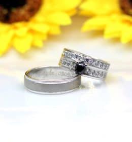 Cincin Kawin Palladium Black Diamond P154WG