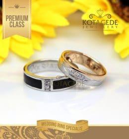 Cincin Kawin Kombinasi Rose Gold dan Black Acrilic C021