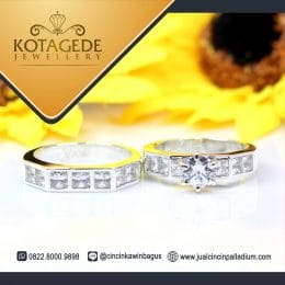 Cincin Couple Palladium Permata Kotak P157WG