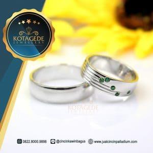 cincin kawin Emas Putih Permata Hijau M156WG