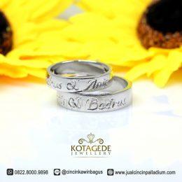 Cincin Couple Emas Putih Ukir Nama Jogja M160WG