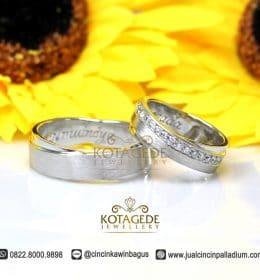 Cincin Kawin Platinum dan Emas Putih Berlian Eksklusif C034
