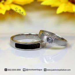 Cincin Kawin Palladium dan Emas Putih Black Acrilic C034