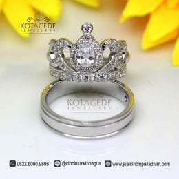 Cincin Kawin Palladium Model Mahkota Eksklusif P175WG