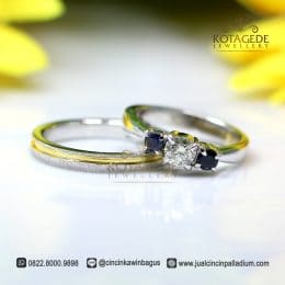 Cincin Kawin Platinum BLack Diamond Model Unik Pt123WG
