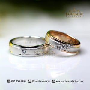 Cincin Kawin Palladium dan Emas Rose Gold C039