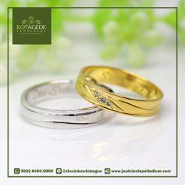 Cincin Kawin Palladium dan Yellow Gold C043