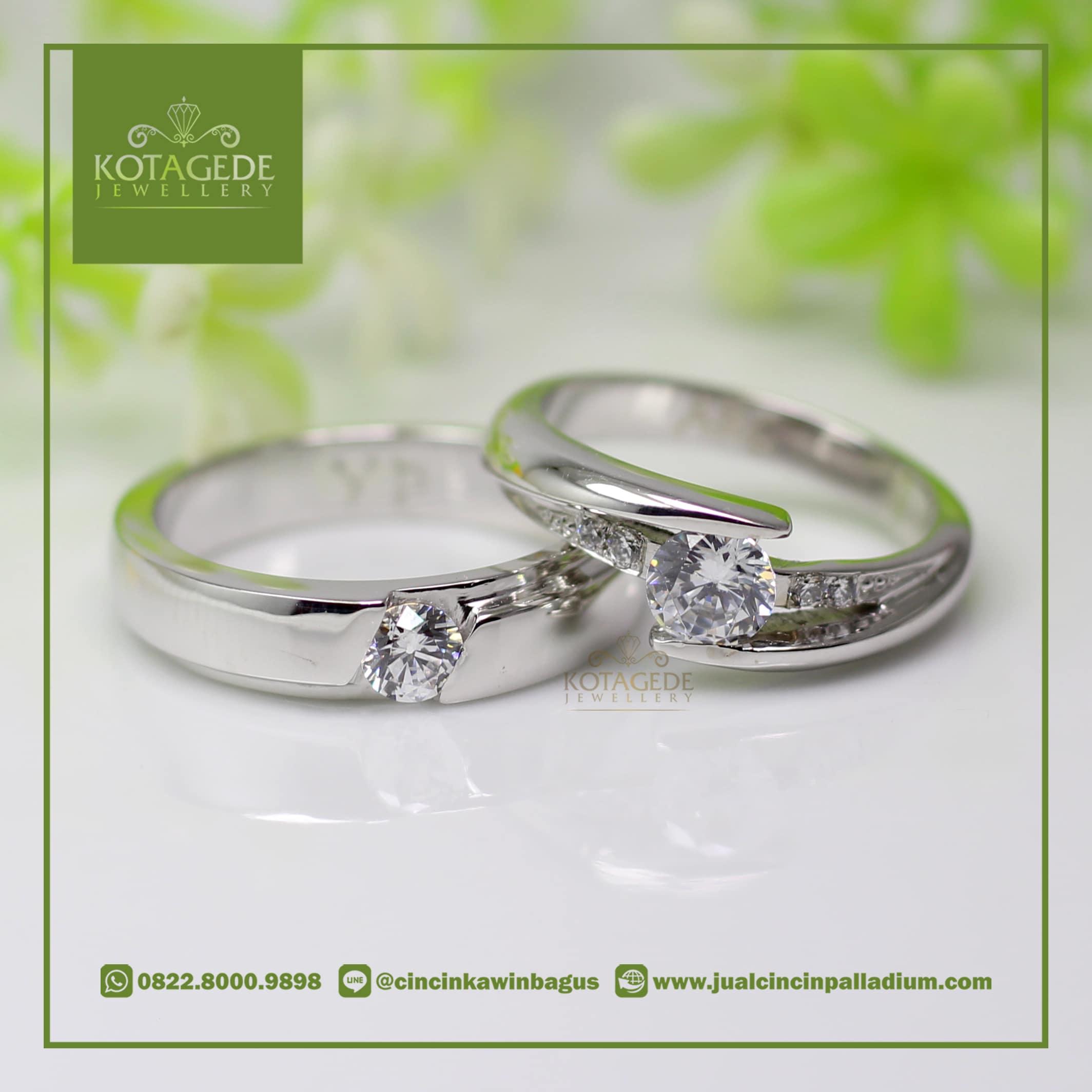 Cincin Nikah White Gold Palladium P017wg Jual Pernikahan 022