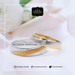 Cincin Kawin Tunangan Palladium Emas Putih PD0028WG