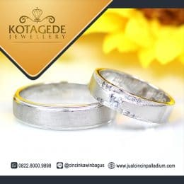 Cincin Kawin Kombinasi Palladium dan Emas Putih C022