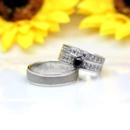 Cincin Kawin Palladium Black Diamond P154WG