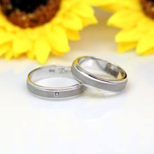 Cincin Kawin Emas Putih dan Palladium Berlian P152WG
