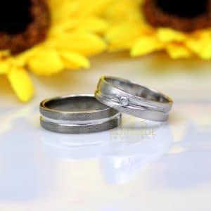 Cincin Couple Emas dan Palladium C017