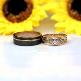 Cincin Kawin Hitam dan Rose Gold C019