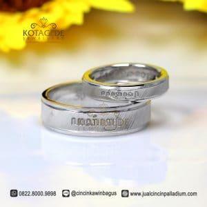 Cincin Kawin Platinum Ukir Nama Aksara Jawa Pt119WG