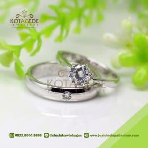 Cincin Kawin Platinum dan Emas Putih Permata C040