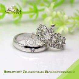 Cincin Kawin Palladium dan Emas Putih Mahkota C042