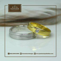 Cincin Kawin Atau Cincin Tunangan Palladium Dan Yellow Gold P0013YG