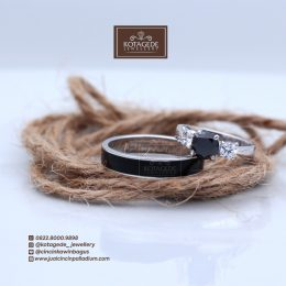 black on white ring