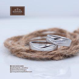 cincin kawin tunangan nikah Palladium Emas Putih P0012WG