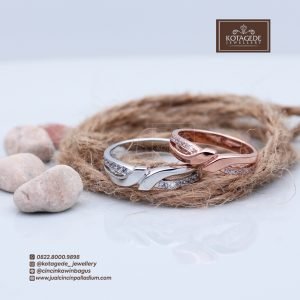 Cincin Kawin Atau Cincin Tunangan Palladium Emas Rose Gold P099RG