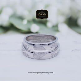Cincin Kawin Tunangan Palladium Couple Ukiran Hati PD0083