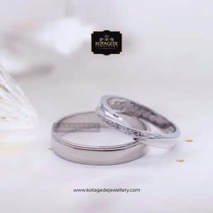 Cincin Kawin Tunangan Palladium Emas Putih PD0068WG