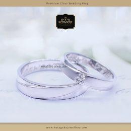 Cincin Kawin Tunangan Palladium Emas Putih Simple PD0057WG