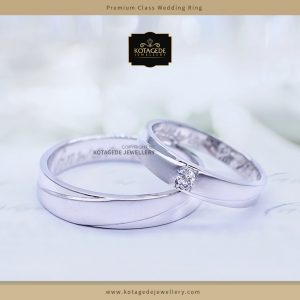 Cincin Kawin Tunangan Palladium Emas Putih Simple PD0057WG