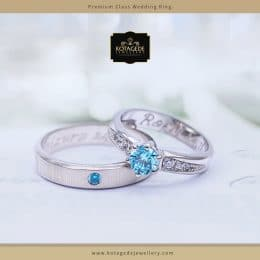 Cincin Kawin Tunangan Platinum Emas Putih Elegant PT0083WG
