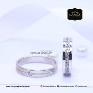 Cincin Kawin Tunangan Palladium Emas Putih PD0086WG