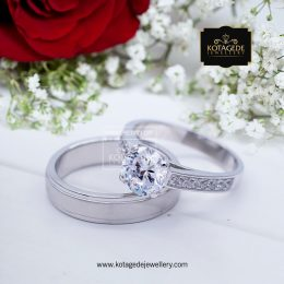 Cincin Kawin Tunangan Big Diamond Palladium PD0107PD