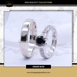 Cincin Kawin Tunangan Palladium Black Diamond PD0117PD