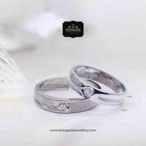 Cincin Kawin Tunangan Palladium Diamond Heart PD0110PD