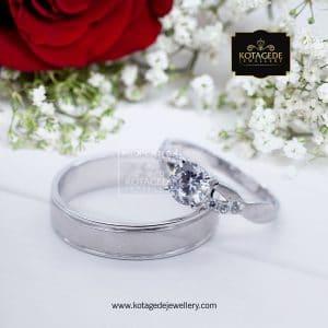 Cincin Kawin Tunangan Palladium Emas Putih Diamond PD0104WG