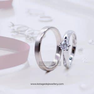 Cincin Kawin Tunangan Diamond Palladium Emas Putih PD0144WG