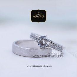 Cincin Kawin Tunangan Diamond Doff Palladium Emas Putih PD0146WG