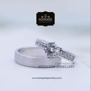 Cincin Kawin Tunangan Doff Diamond Palladium Emas Putih PD0146WG
