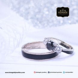 Cincin Kawin Tunangan Palladium Black Diamond PD0138PD