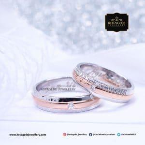 Cincin Kawin Tunangan Palladium Emas Putih Elegant PD0137WG