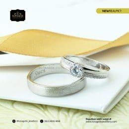 Cincin Kawin Tunangan Diamond Palladium Emas Putih PD0170WG