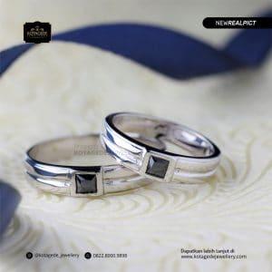 Cincin Kawin Tunangan Palladium Black Diamond Couple PD0178PD