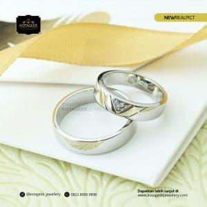 Cincin Kawin Tunangan Palladium Emas Putih Couple PD0172WG
