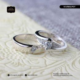Cincin Kawin Tunangan Platinum Emas Putih Elegant PT0180WG