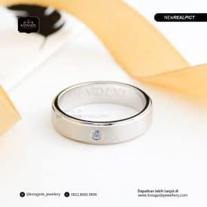 Cincin Kawin Tunangan EMas Putih Premium Doff WG0183