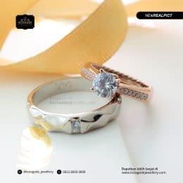 Cincin Kawin Tunangan Elegant Palladium Rose Gold PD0182RG