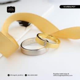 Cincin Kawin Tunangan Palladium Emas Kuning Doff Couple PD0184YG