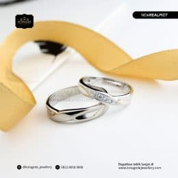 Cincin Kawin Tunangan Palladium Emas Putih Premium PD0200WG