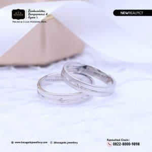 Cincin Kawin Tunangan Palladium Emas Putih Standar PD0209WG