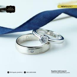 Cincin Kawin Tunangan Platinum Emas Putih Premium PT0189WG